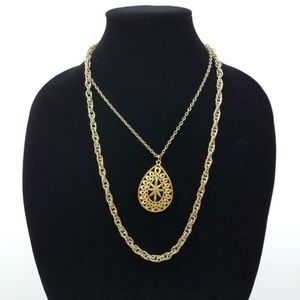 ~ Necklace Gold Tone Multi Strand Chain Teardrop S